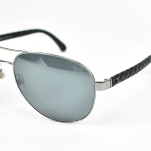 CHANEL Aviator Silver CC & Leather Sunglasses nv